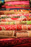 Folded pile of handmade textiles india Royalty Free Stock Photography