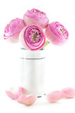 Folded Pink lotus flowers bouquet in vase Stock Photo