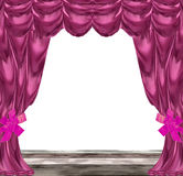 Folded pink and purple curtains with ribbons and wooden floor Stock Photos