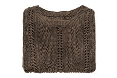 Folded pullover isolated. Folded brown knitted pullover on white background Stock Photos