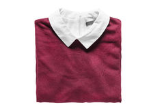 Folded pullover isolated. Folded pullover with white collar on white background Royalty Free Stock Photos