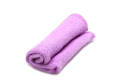 Folded purple cloth for cleaning utensils Royalty Free Stock Photo