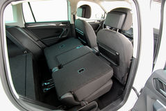 Folded rear seat of the car Royalty Free Stock Photography
