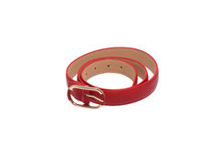Folded red trouser belt. Royalty Free Stock Photos