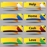 Folded Ribbon Button Set. An image of a gold folded ribbon button set Stock Photography