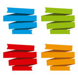 Folded ribbons banners , differents colors Royalty Free Stock Photo