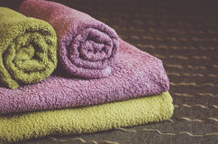 Folded and rolled hotel towels Stock Image