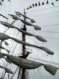 Folded sails. A picture of the mast and the folded sails on a traditional ship Stock Photo