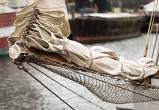 Folded sails and ropes Stock Image