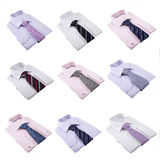 Folded Shirts and Ties Stock Images