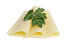 Folded slices of edam cheese Stock Photos