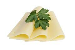Folded slices of edam cheese Stock Photos