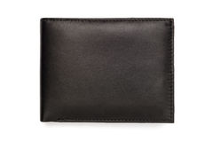 Folded Smooth Black Leather Wallet Royalty Free Stock Images