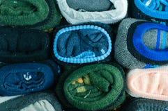 Folded socks. Details of socks,arranged as background Stock Photos
