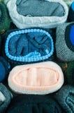 Folded socks. Details of socks,arranged as background Stock Photo
