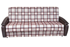 When folded, sofa bed of checkered cloth, isolated on white . Royalty Free Stock Photo