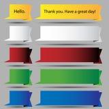 Folded Speech Bubble Ribbon Button Set royalty free illustration