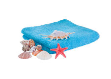 Folded towel with seashell Stock Photography