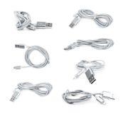 Folded USB lightning cable isolated Stock Photo