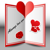 Folded Valentine card. With heart and stickers Royalty Free Stock Photos