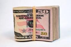 Folded Wad Fifty Dollar Bills American Money Cash Tender Royalty Free Stock Image