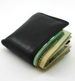 Folded wallet packed with cash,on white Royalty Free Stock Photos