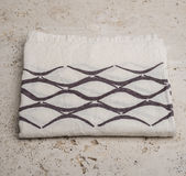 Folded White Linen with Brown Concave Line Pattern Royalty Free Stock Photography