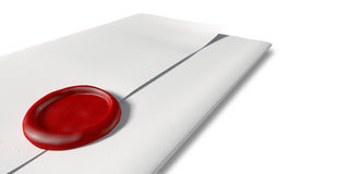 Folded White Paper With Red Wax Seal Closeup Royalty Free Stock Photography