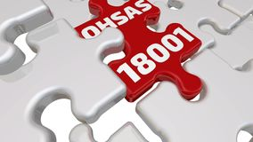 OHSAS 18001. The inscription on the red puzzle