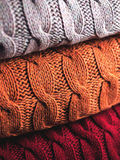 Folded wool in three colours Stock Photo
