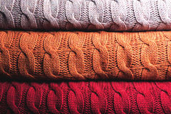 Folded wool in three colours Royalty Free Stock Images