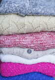 Folded woolen sweaters Royalty Free Stock Images