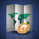 Folded World Map with Compass. Folded map of the world with reflected compass Royalty Free Stock Photo