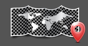 Folded world map with gps marks. Stock Images