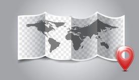 Folded world map with gps marks. Stock Photo