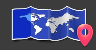 Folded world map with gps marks. Royalty Free Stock Images