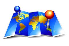 Folded world map and pins. Blue shiny world map and pins on folded paper stock illustration