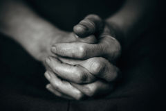 Folded wrinkled old man's hand royalty free stock photos