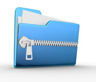 Folder. Icon with zip, over white background. 3d render Royalty Free Stock Photos