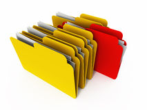 Folder. S in yellow color, with one red  coming out ahead Royalty Free Stock Images
