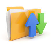 Folder 3d icon. Date transferring concepts. Stock Image
