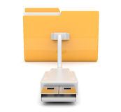 Folder 3d icon. USB onnect . on white background. Folder 3d icon. USB onnect. on white Stock Photography
