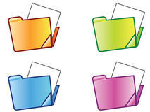 Folder. Set of web folder icons with different colors Royalty Free Stock Images