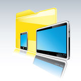 Folder with abstract monitor and  smart phone Stock Photos