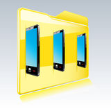 Folder with abstract  touchscreen smart phone. Vector illustration Stock Image