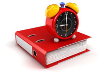 Folder and alarm clock Stock Photo