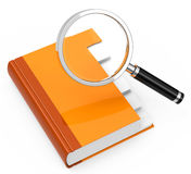 Folder analysis. 3d generated picture of a folder with a magnifying glass Royalty Free Stock Image