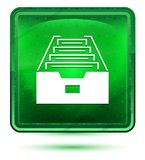 Folder archive cabinet icon neon light green square button stock illustration