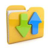 Folder and arrow.  3D icon. Date downloading Royalty Free Stock Photography