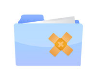 Folder band aid fix solution concept Royalty Free Stock Photography